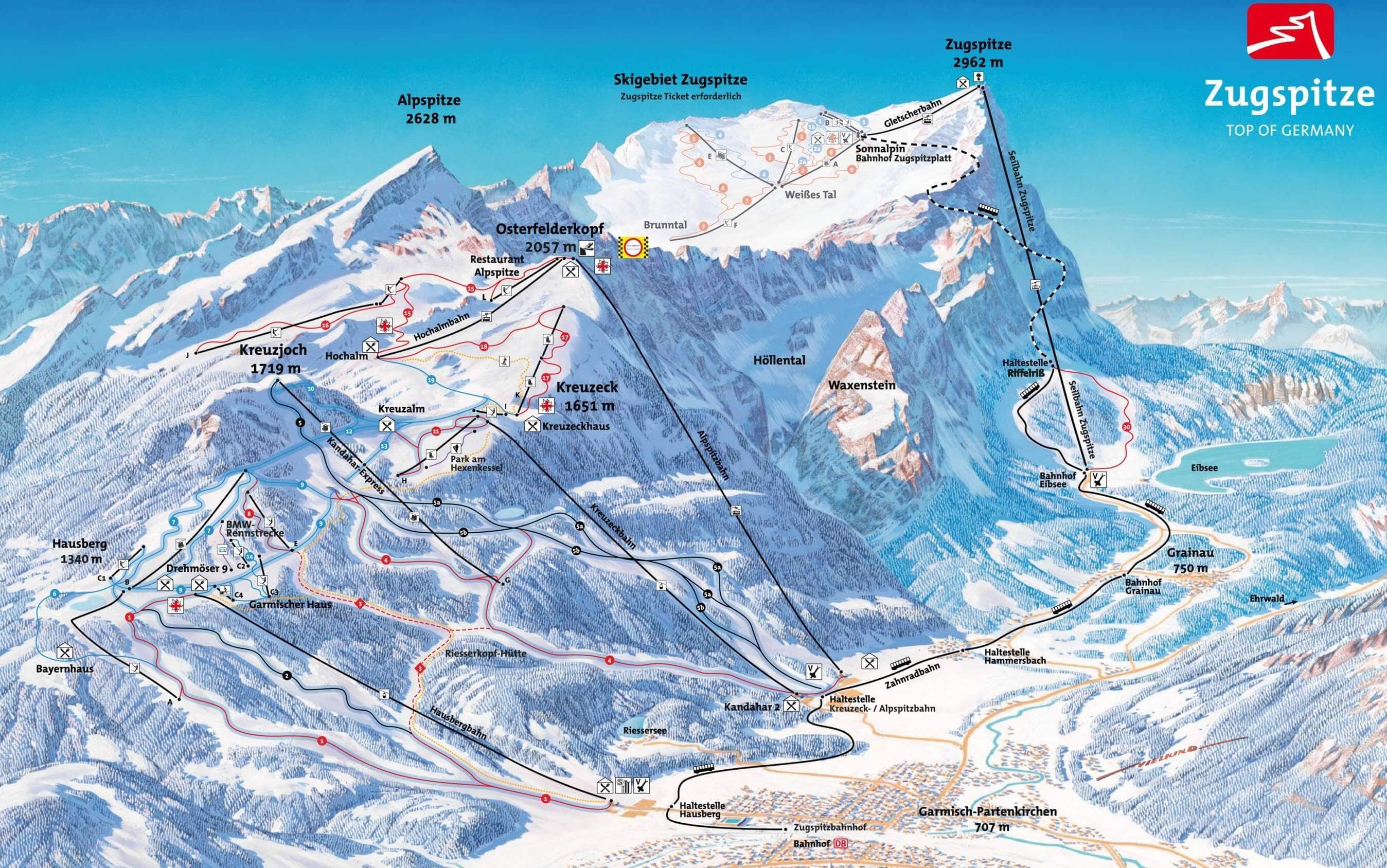 Ski resort Garmisch Partenkirchen Slopes TopSkiResortcom