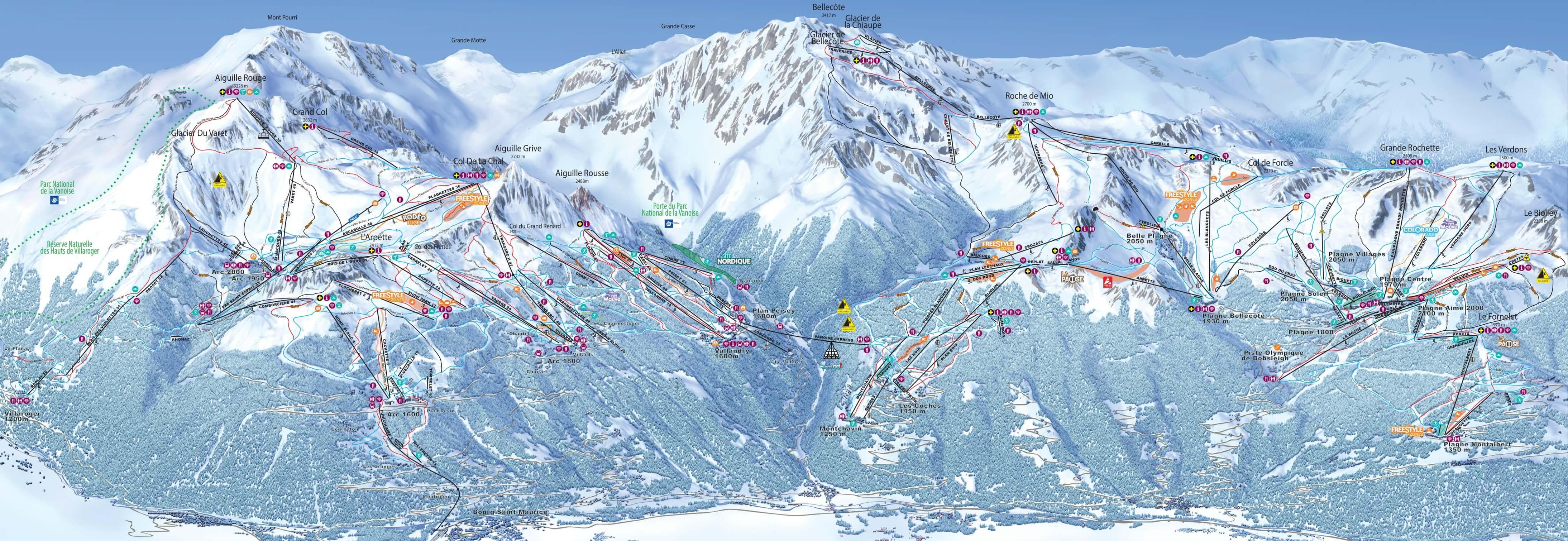 Ski resort La Plagne - Slopes - TopSkiResort.com